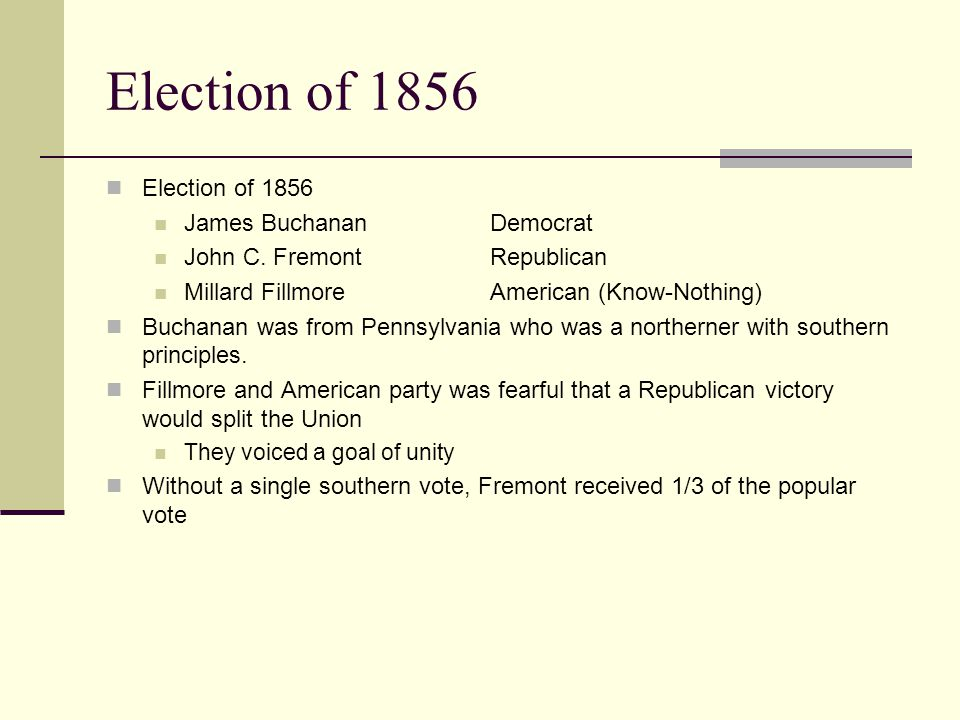 Election of 1856 Election of 1856 James Buchanan Democrat