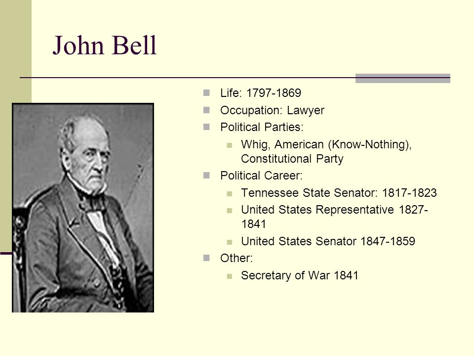 John Bell Life: 1797-1869 Occupation: Lawyer Political Parties: