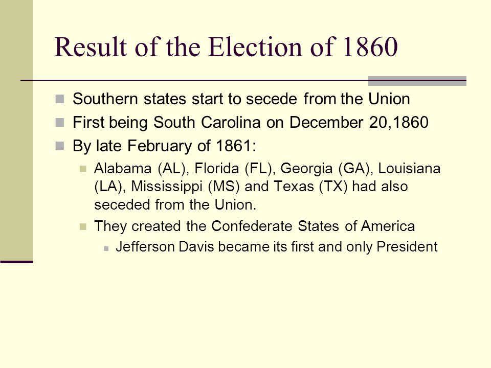 Result of the Election of 1860