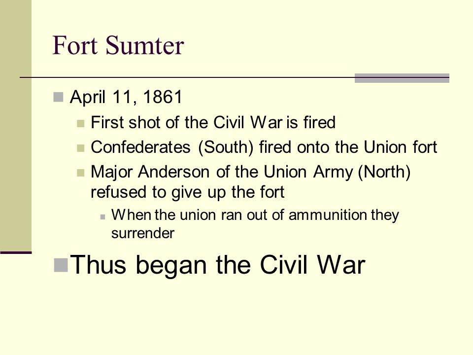 Fort Sumter Thus began the Civil War April 11, 1861