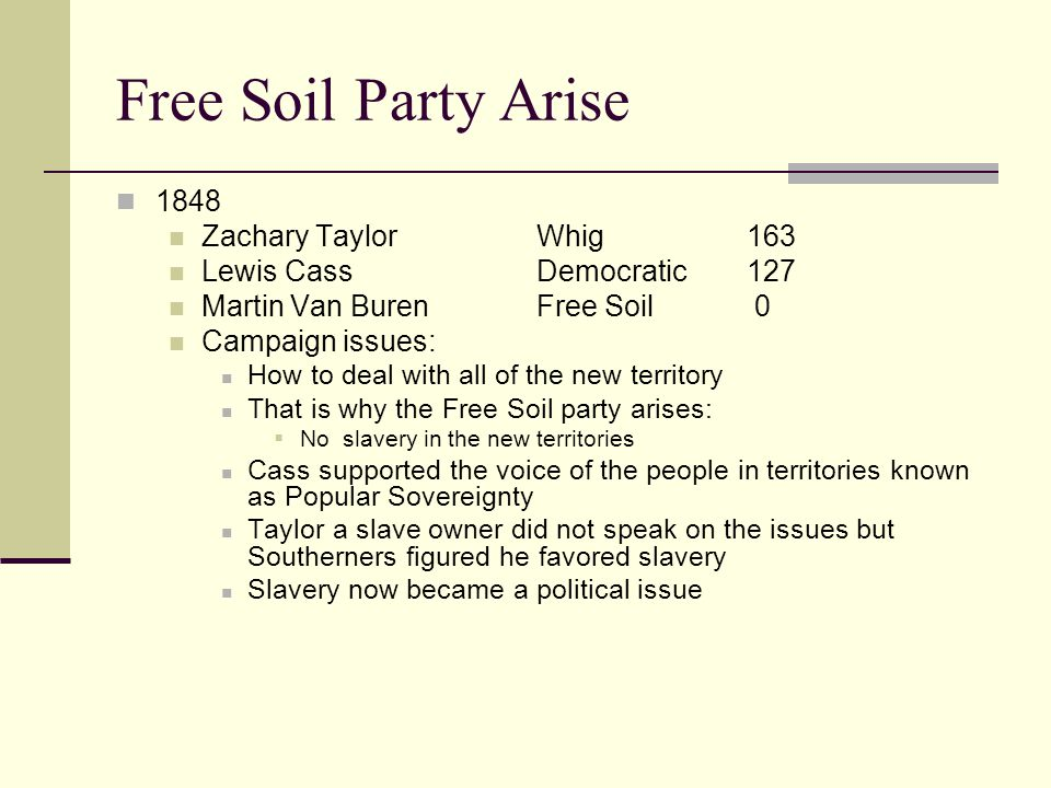 Free Soil Party Arise 1848 Zachary Taylor Whig 163