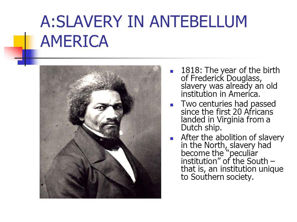 A:SLAVERY IN ANTEBELLUM AMERICA