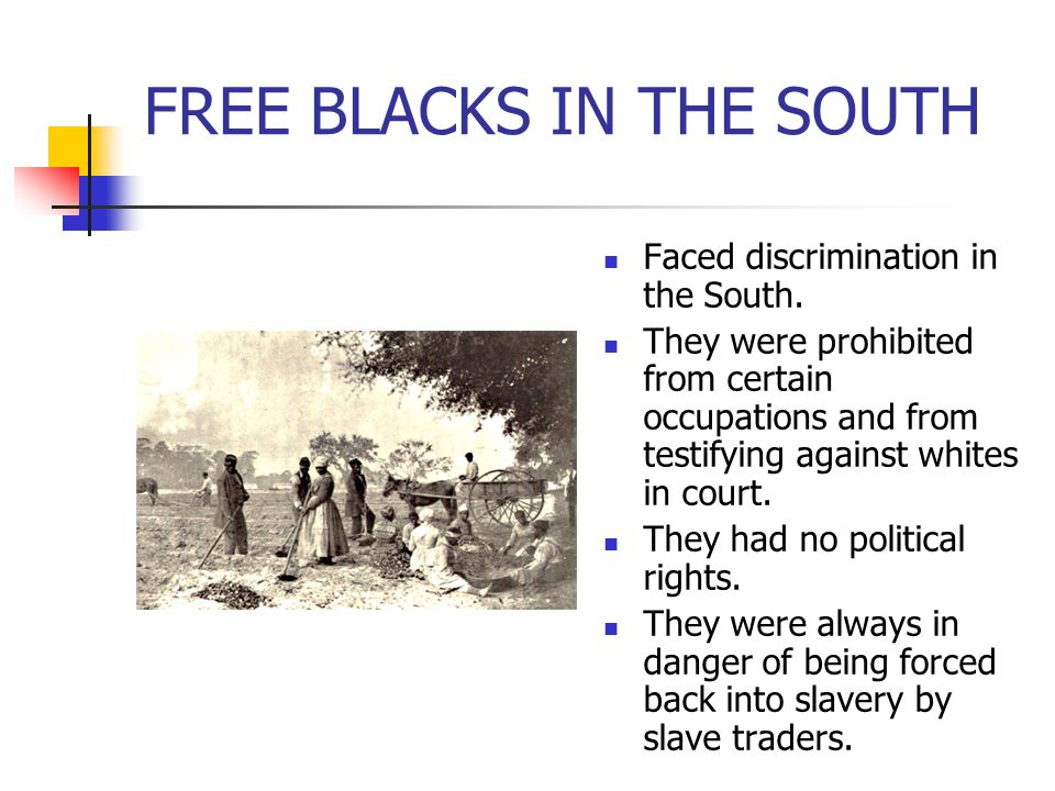 FREE BLACKS IN THE SOUTH