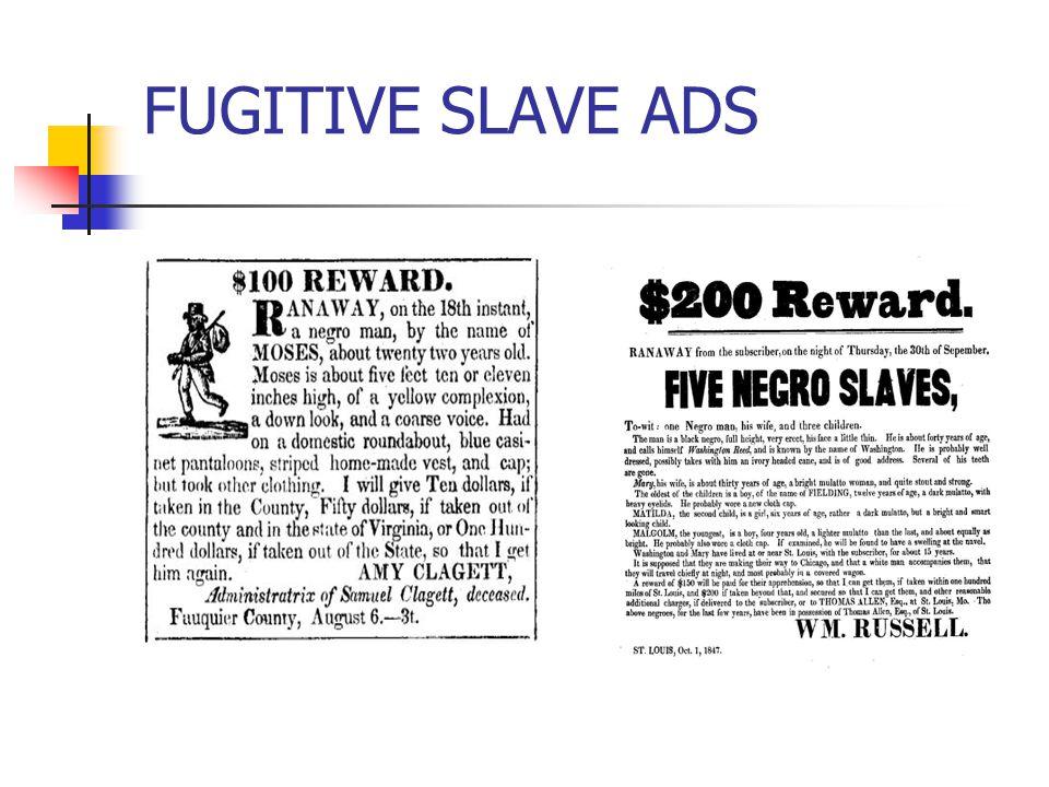 FUGITIVE SLAVE ADS
