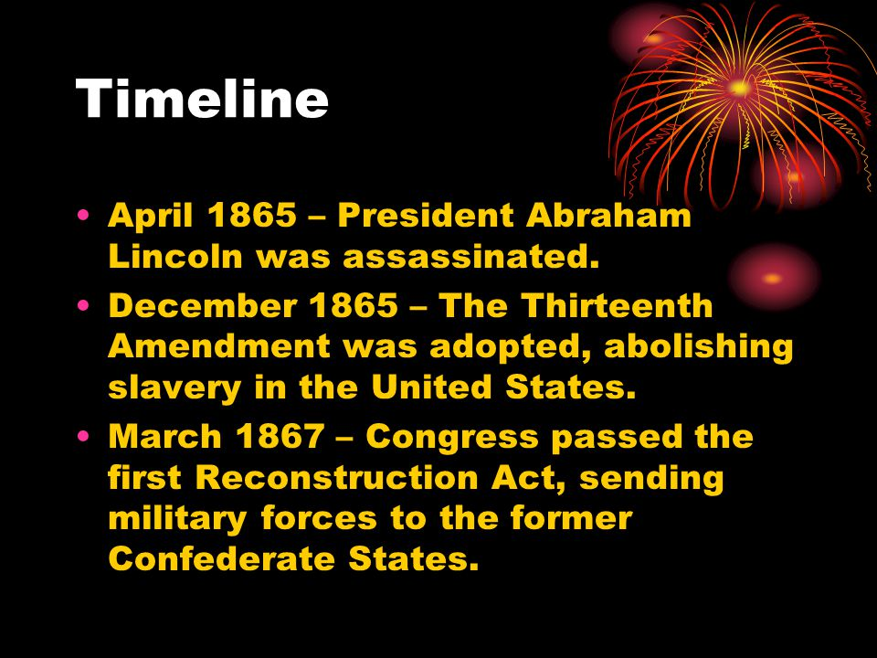 Timeline April 1865 – President Abraham Lincoln was assassinated.