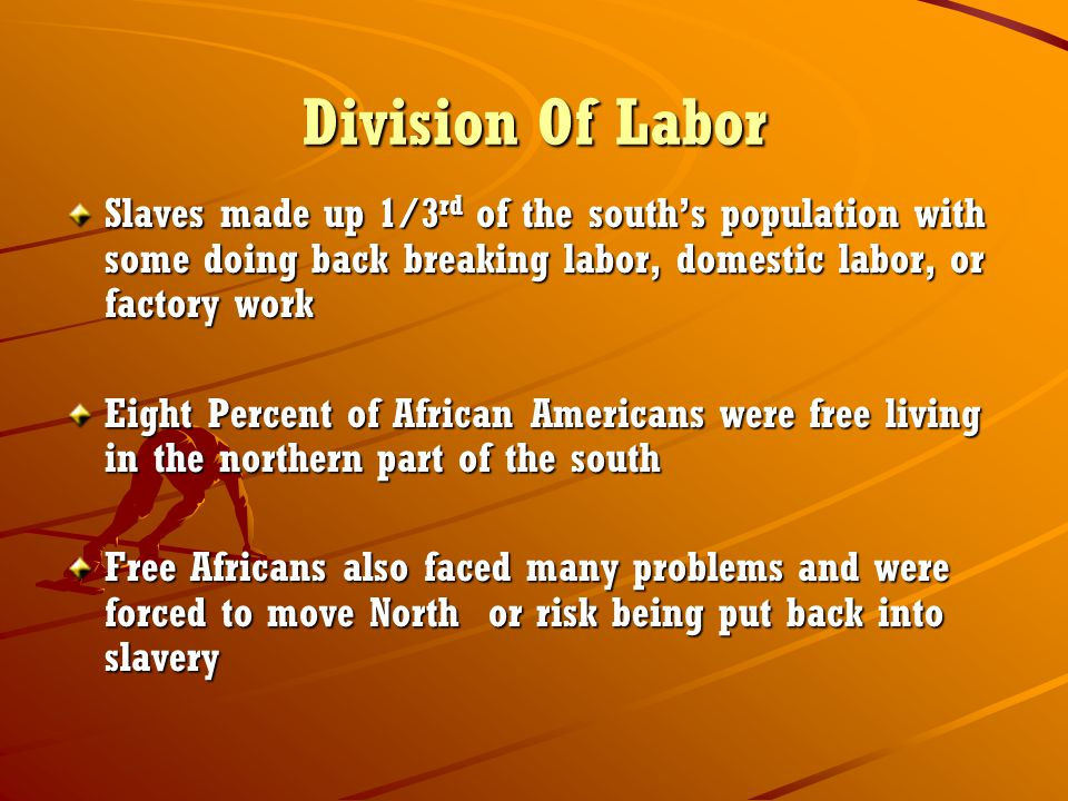 Division Of Labor Slaves made up 1/3rd of the south's population with some doing back breaking labor, domestic labor, or factory work.