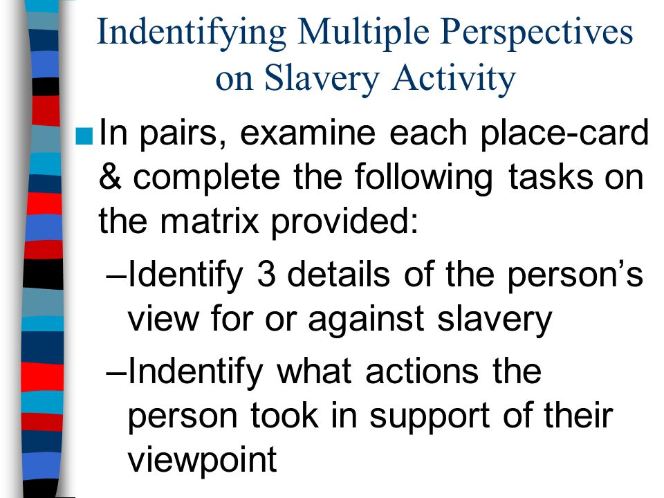 Indentifying Multiple Perspectives on Slavery Activity