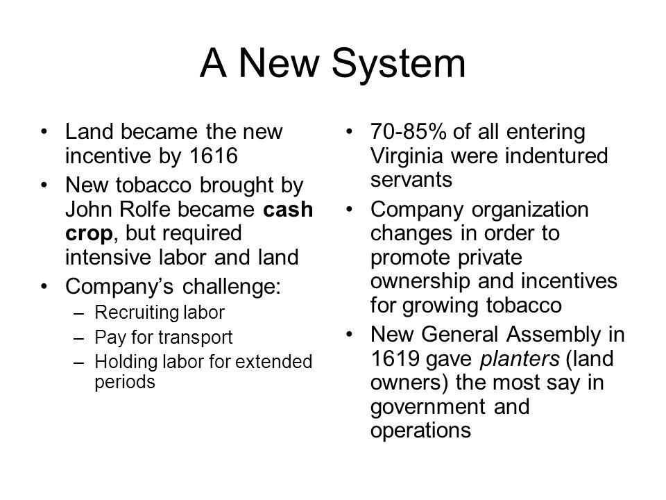 A New System Land became the new incentive by 1616