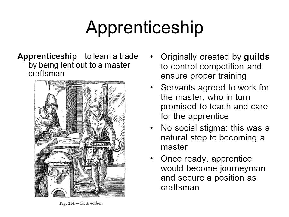 Apprenticeship Apprenticeship—to learn a trade by being lent out to a master craftsman.