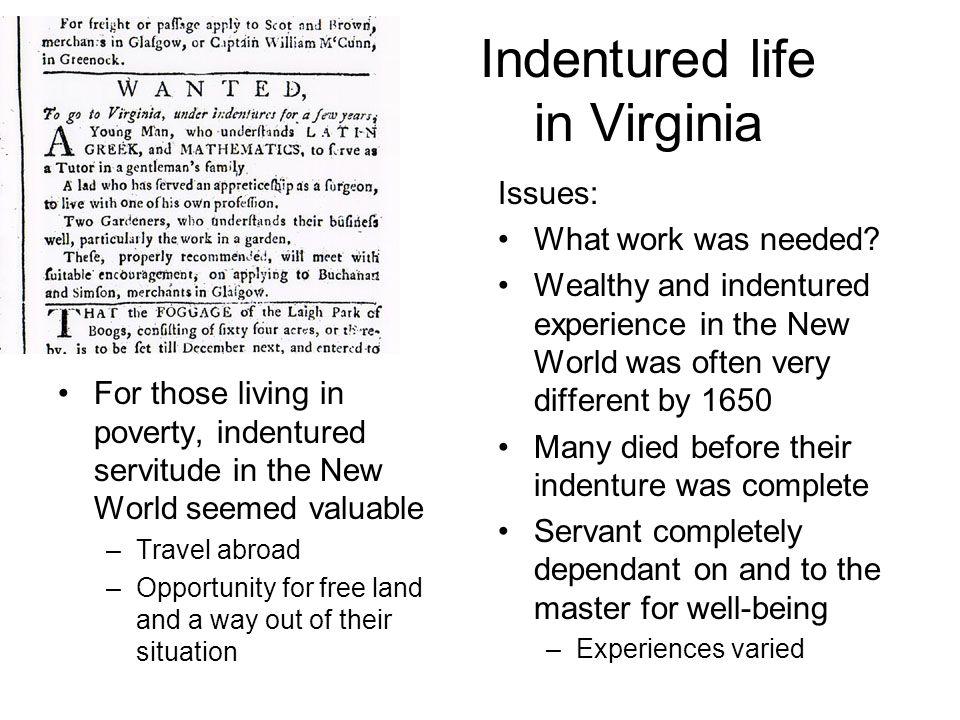 Indentured life in Virginia