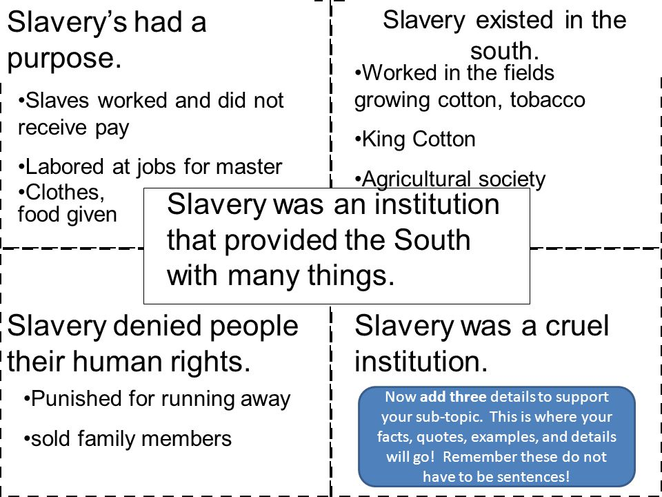 Slavery existed in the south.
