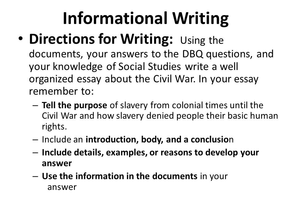 square writing helping us write a dbq ppt video online  3 informational writing