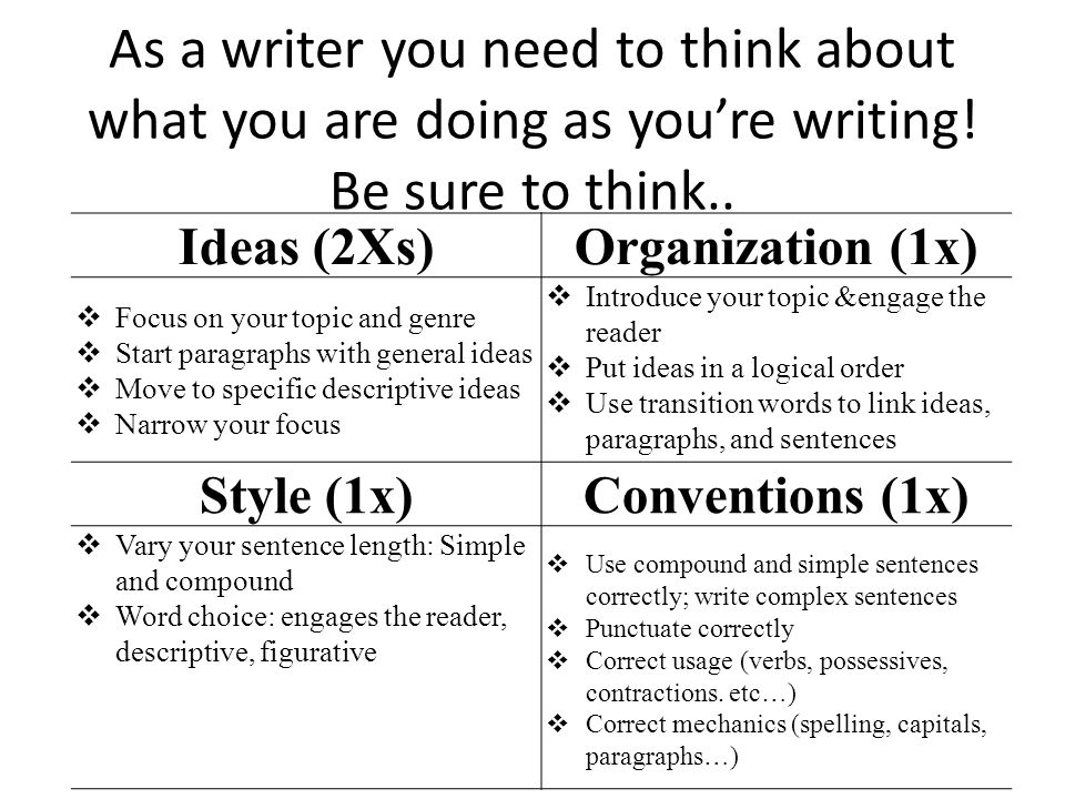 As a writer you need to think about what you are doing as you're writing! Be sure to think..