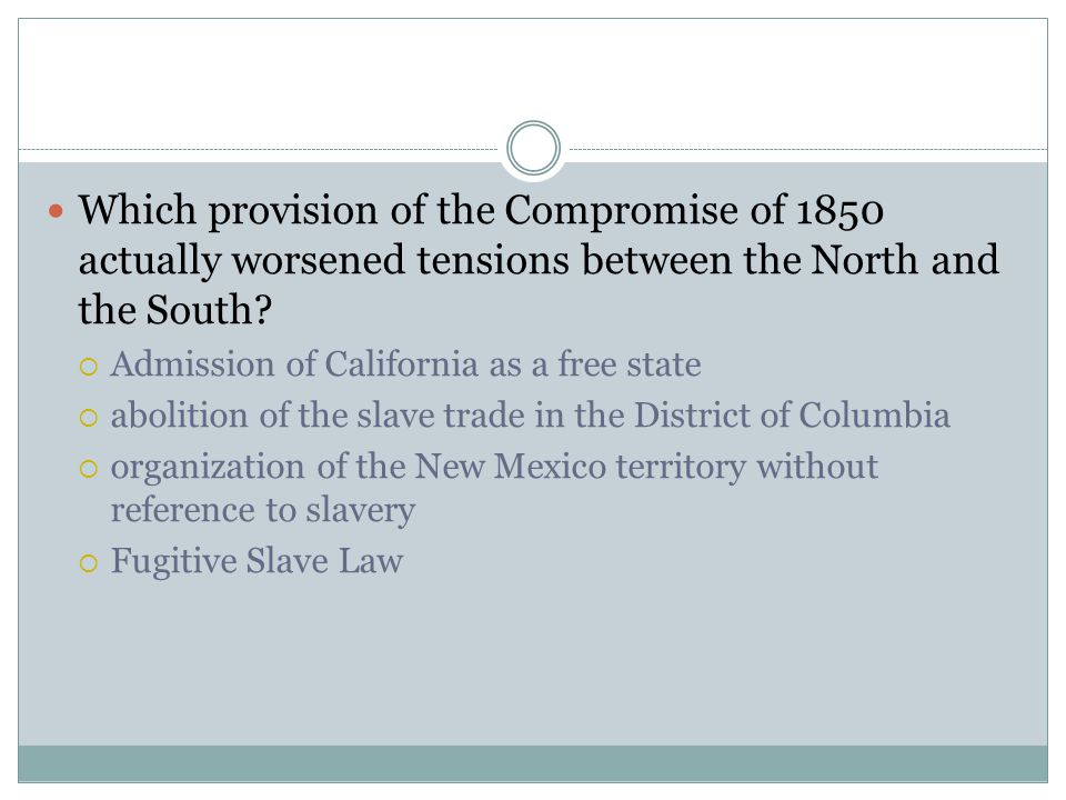 Which provision of the Compromise of 1850 actually worsened tensions between the North and the South