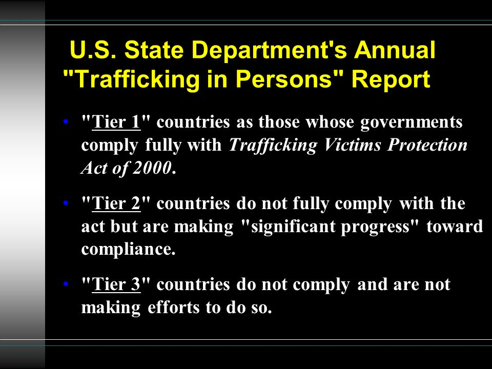 U.S. State Department s Annual Trafficking in Persons Report
