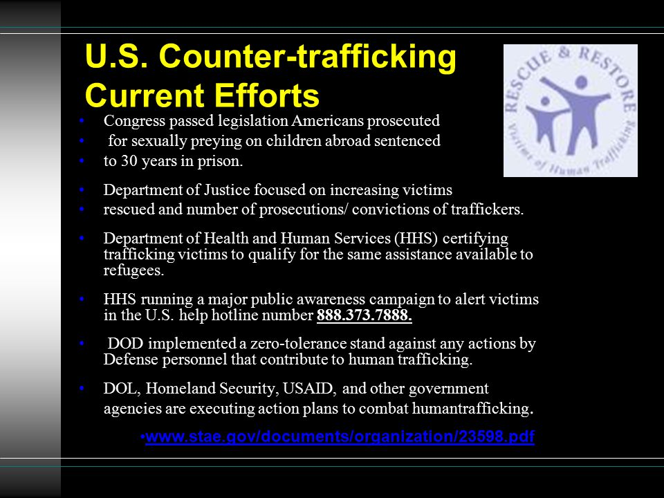U.S. Counter-trafficking Current Efforts