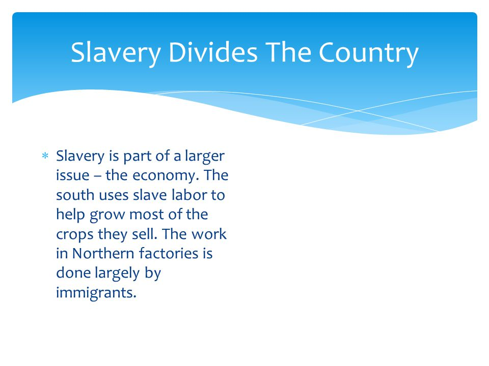 Slavery Divides The Country