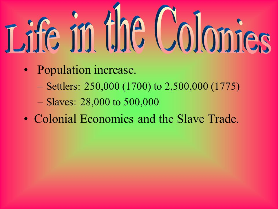 Life in the Colonies Population increase.