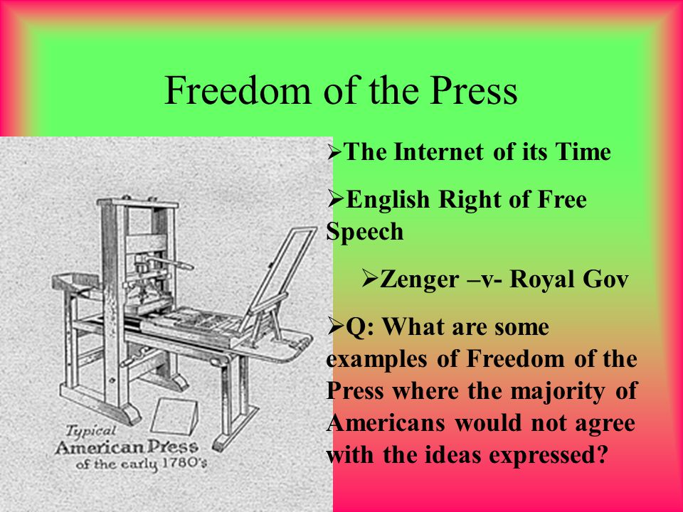 Freedom of the Press English Right of Free Speech Zenger –v- Royal Gov