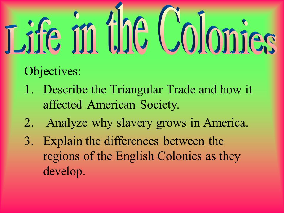 Life in the Colonies Objectives: