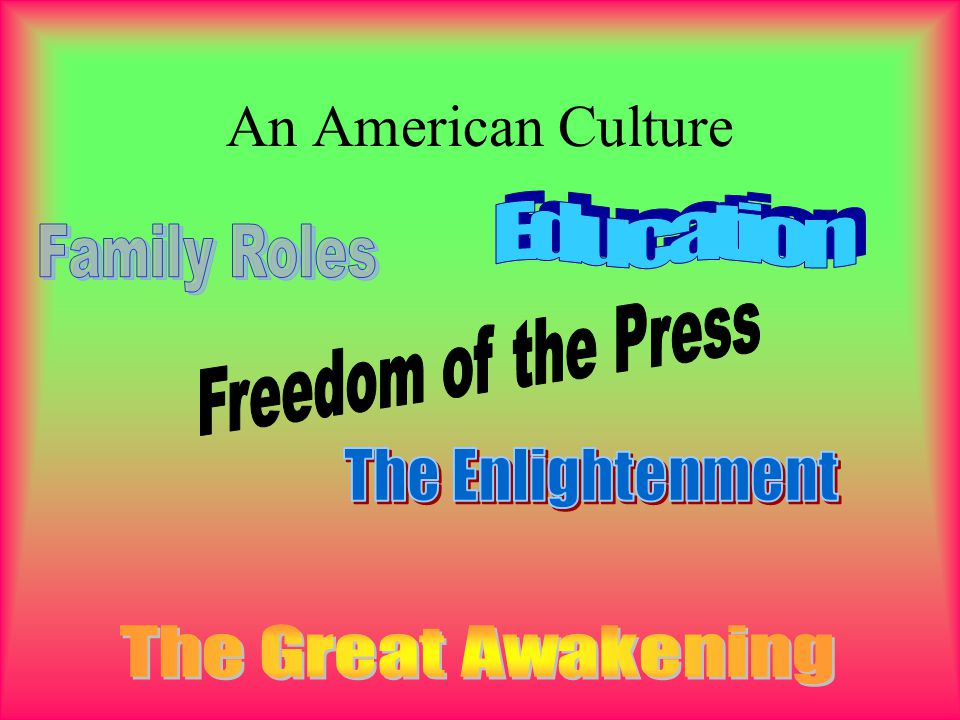 An American Culture Education Family Roles Freedom of the Press