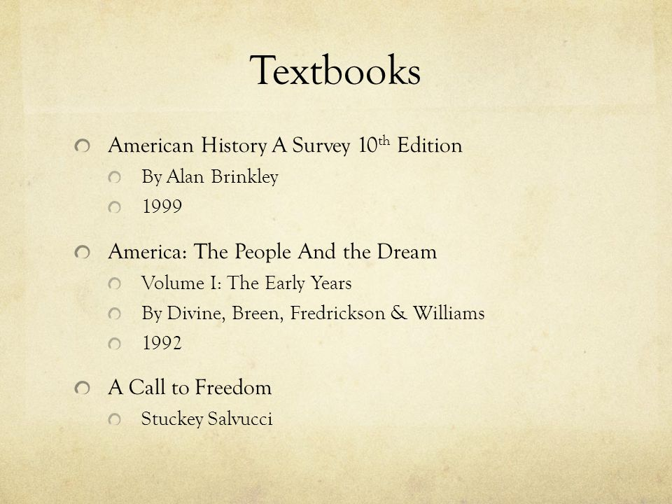 Textbooks American History A Survey 10th Edition