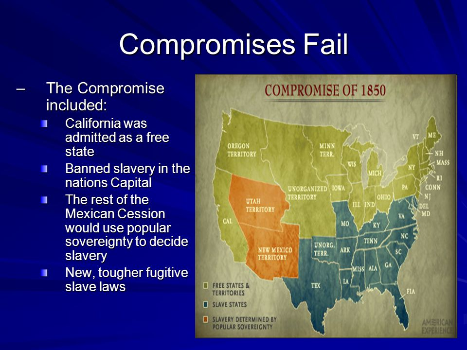 Compromises Fail The Compromise included: