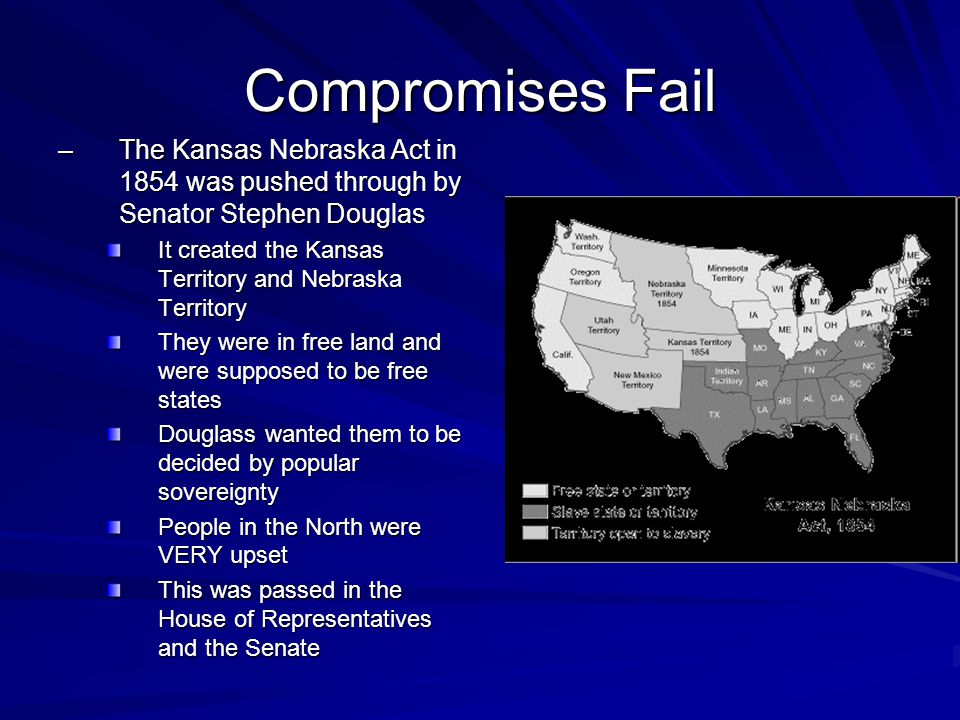 Compromises Fail The Kansas Nebraska Act in 1854 was pushed through by Senator Stephen Douglas.