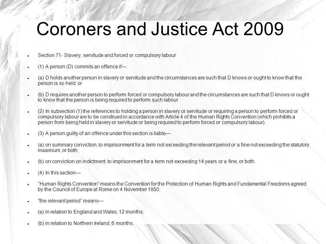 Coroners and Justice Act 2009