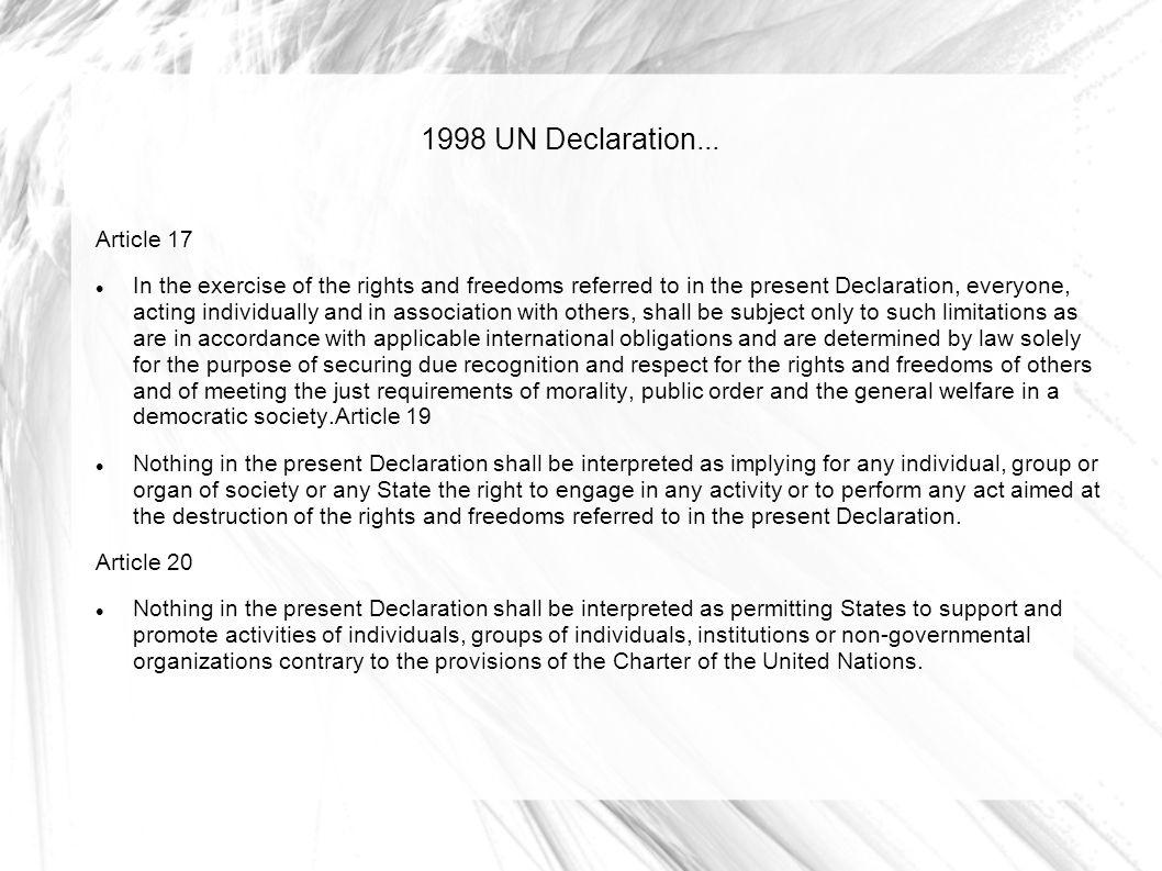 1998 UN Declaration... Article 17