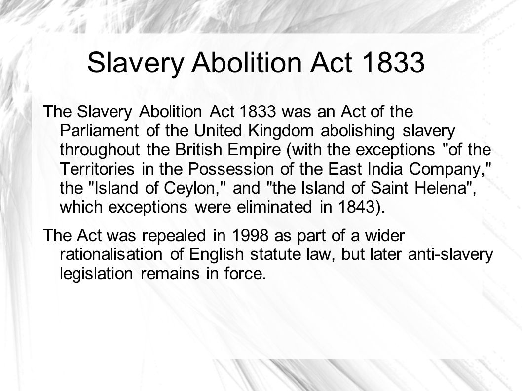 Slavery Abolition Act 1833