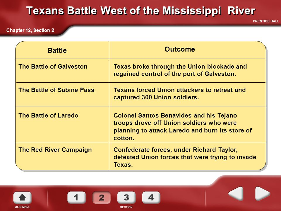 Texans Battle West of the Mississippi River