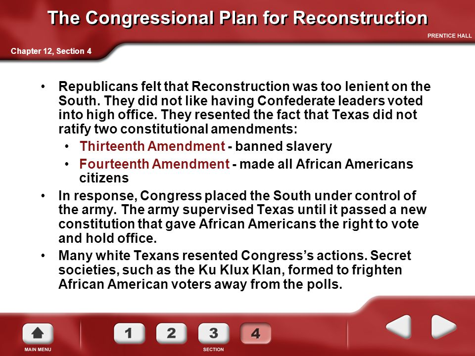 The Congressional Plan for Reconstruction
