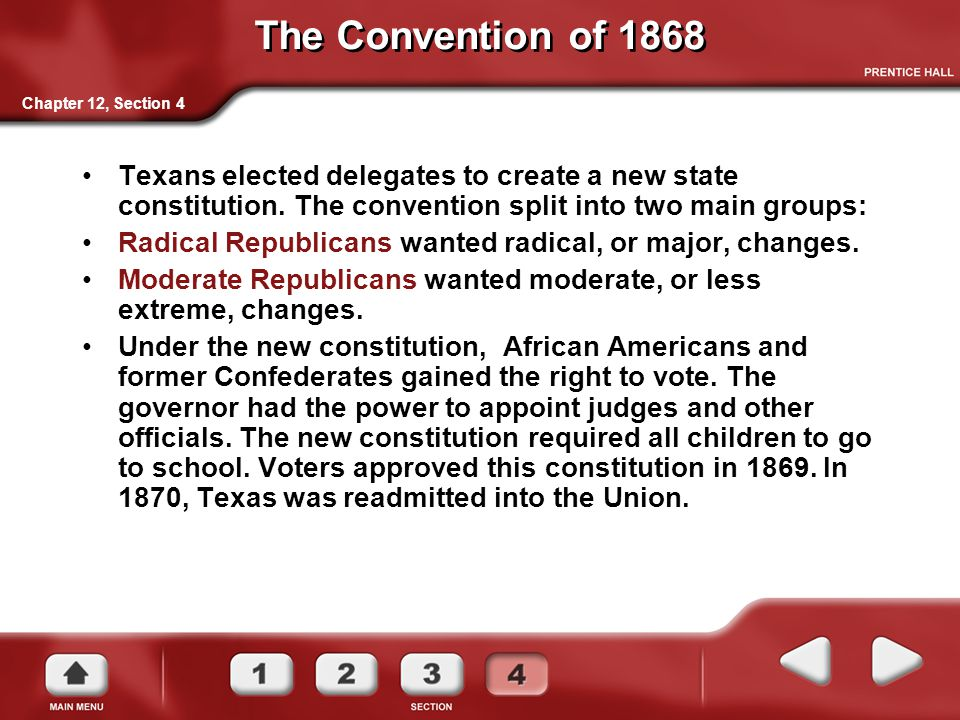 The Convention of 1868 Chapter 12, Section 4.
