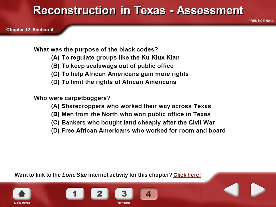 Reconstruction in Texas - Assessment