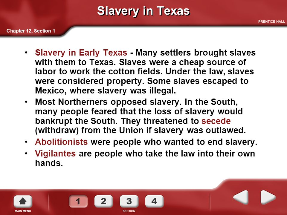 Slavery in Texas Chapter 12, Section 1.