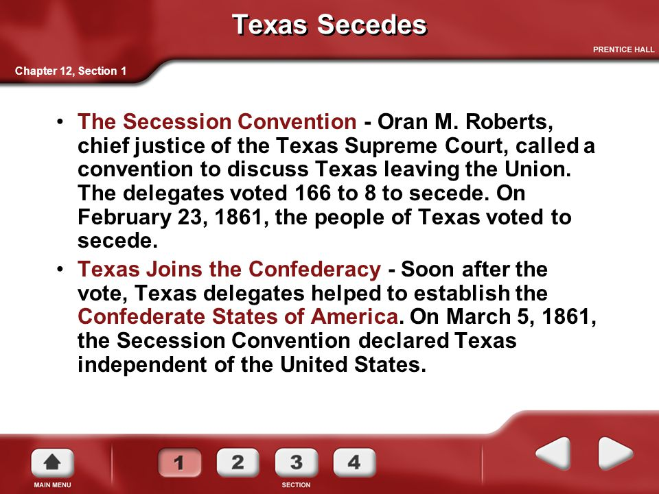 Texas Secedes Chapter 12, Section 1.