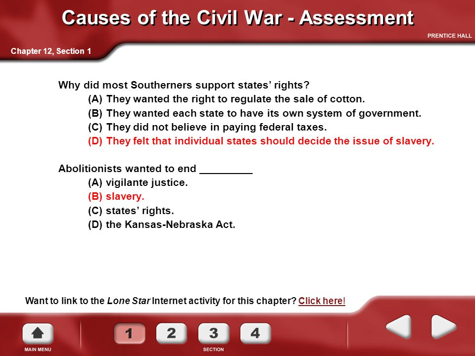 Causes of the Civil War - Assessment