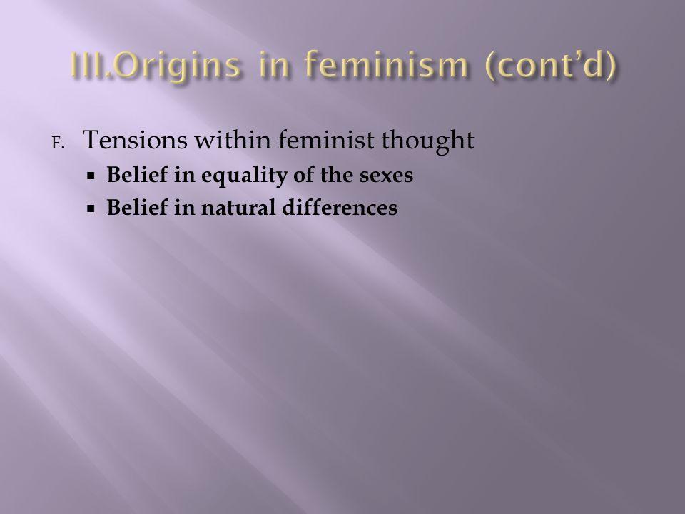 Origins in feminism (cont'd)