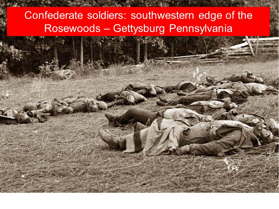 Confederate soldiers: southwestern edge of the Rosewoods – Gettysburg Pennsylvania