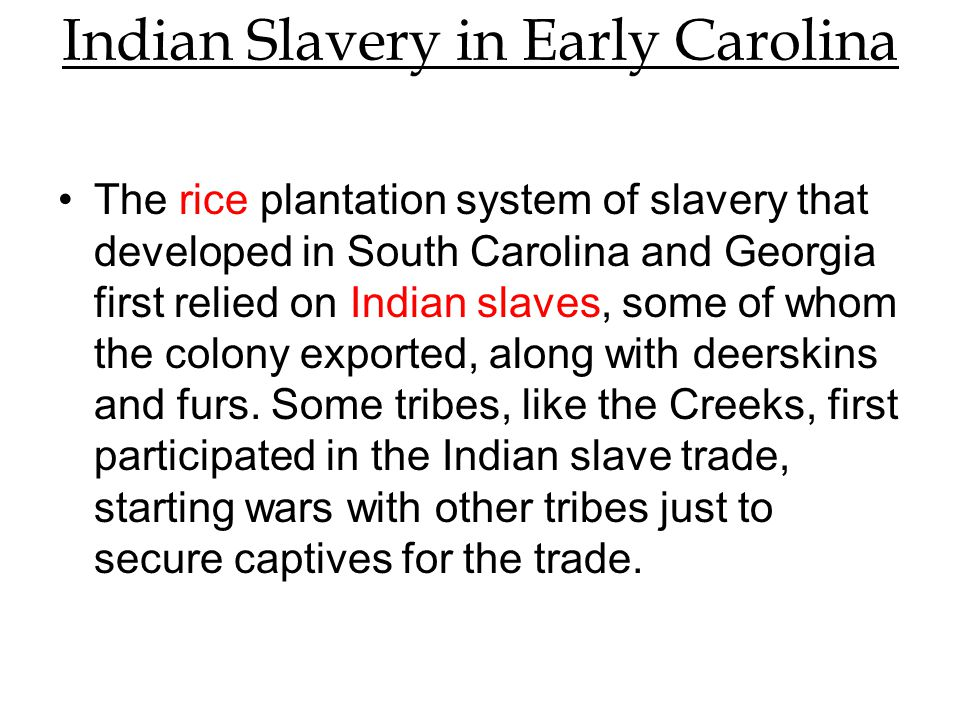 Indian Slavery in Early Carolina