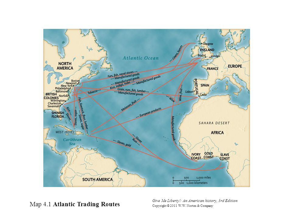 Map 4.1 Atlantic Trading Routes