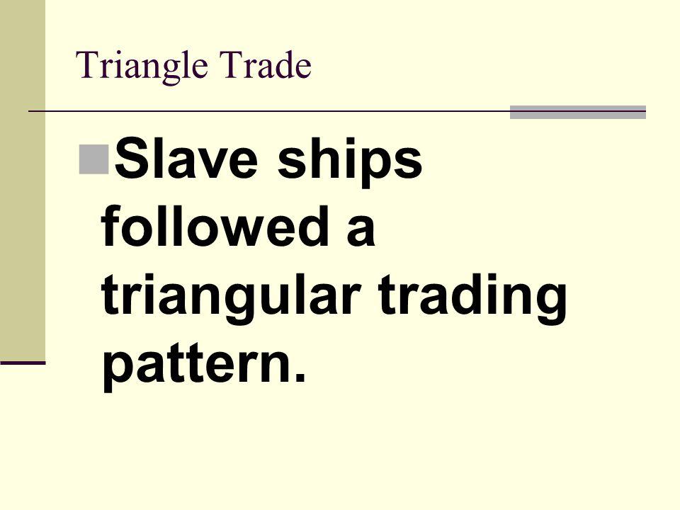 Slave ships followed a triangular trading pattern.