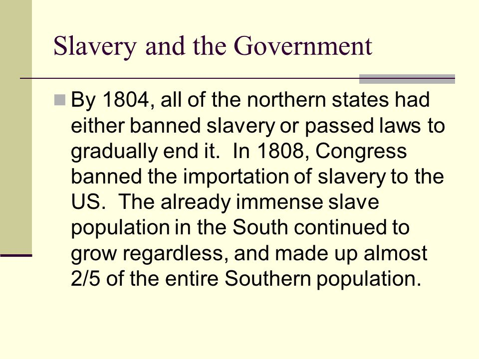 Slavery and the Government