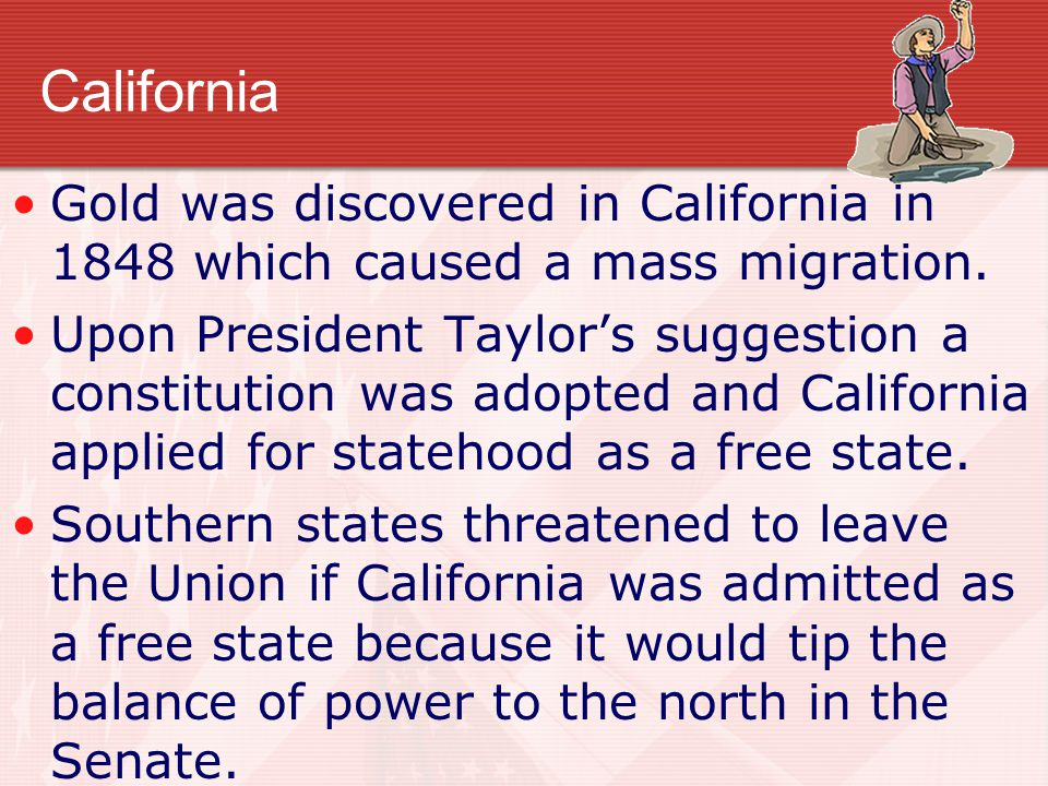 California Gold was discovered in California in 1848 which caused a mass migration.