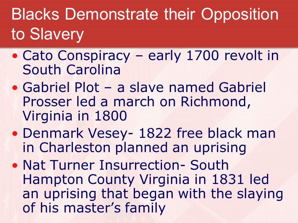 Blacks Demonstrate their Opposition to Slavery