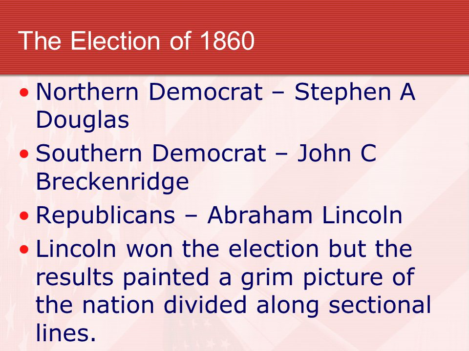 The Election of 1860 Northern Democrat – Stephen A Douglas