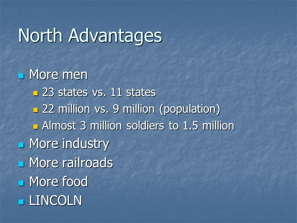 North Advantages More men More industry More railroads More food