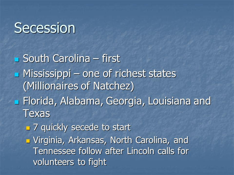 Secession South Carolina – first