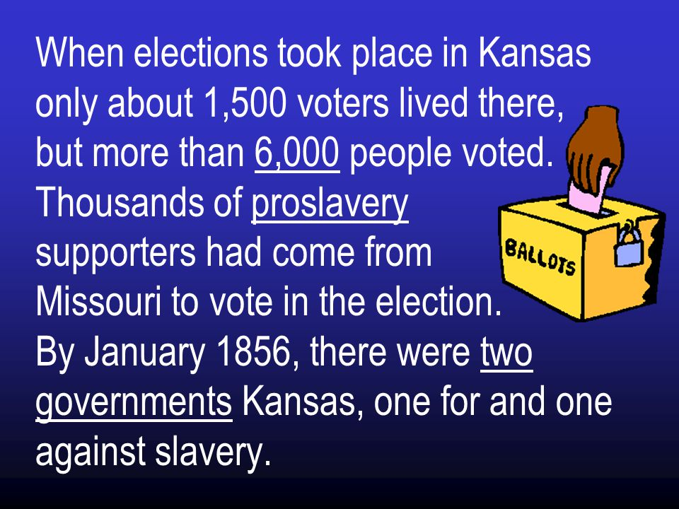 When elections took place in Kansas only about 1,500 voters lived there, but more than 6,000 people voted.